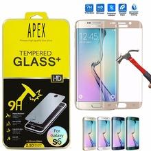 0.26mm 9H Curv Full Cover Tempered Glass Screen Protector Flilm sFor Samsung Galaxy S6 Edge/S6 Edge+ Plus Gold pelicula de vidro