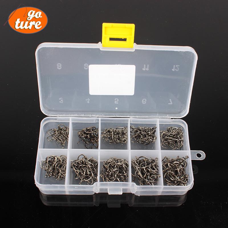 1000Pcs(2 box) fishhook Size #3-12 High Carbon Steel Circle Owner Fishing Hook With Fishing Tackle Box(China (Mainland))
