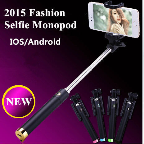Universal Luxury Remote Shutter Selfie Stick Monopod For Iphone 6 Plus Extendable Wired Para Selfie Android IOS Self Palo Selfie(China (Mainland))