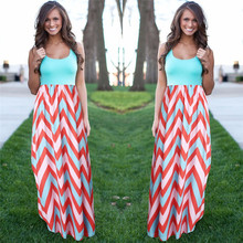 Women Summer Beach Boho Maxi Dress 2016 High Quality Brand Striped Print Long Dresses Feminine Plus Size(China (Mainland))