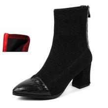 REAVE KEDI Hakiki Deri yarım çizmeler Kadın Fermuar Patchwork Ayakkabı Kadın Koyun Derisi binici çizmeleri Botas Feminina J314(China)