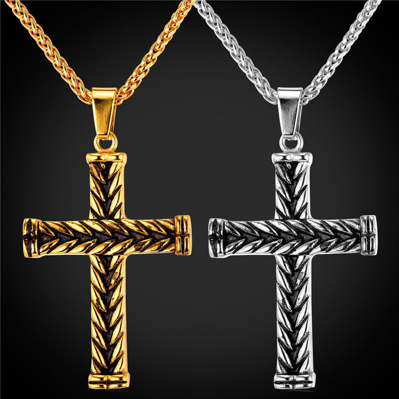 Cross Necklace Vintage Christian Jewelry Stainless Steel