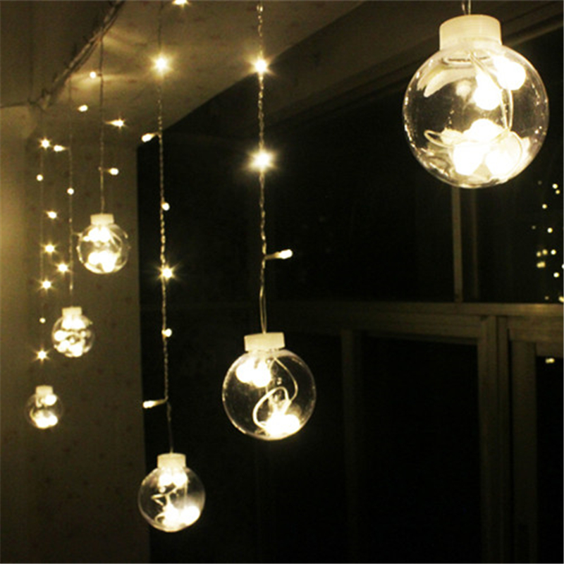 String Lights Guirlande Electrique : Wedding Decoration Curtain Led Ball Light Plastic Globe Starry String Fairy Lights Transparent ...