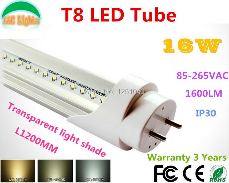 Super Brightness T8 Led Tube 1.2M 16W Transparent light shade Fluorescent Tubes168PCs SMD3014 1600LM 85-265VAC CE RoHS 25Pcs/lot(China (Mainland))