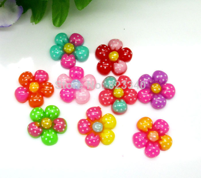 Free shipping!100Pcs Mixed Resin Kawaii Dot Flower Flatback Cabochon Scrapbooking Crafts Fit Phone Embellishment(China (Mainland))
