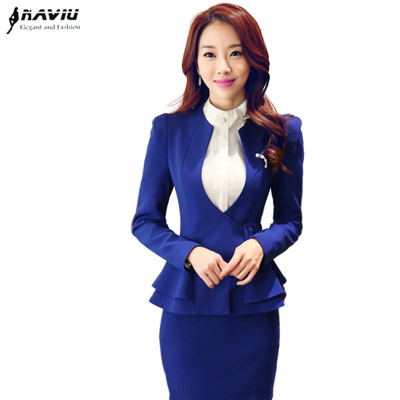 2017 Fashion slim women's skirt suit work wear formal long sleeve ruffles hem waistband Decorative blazer skirt plus size S-4XL