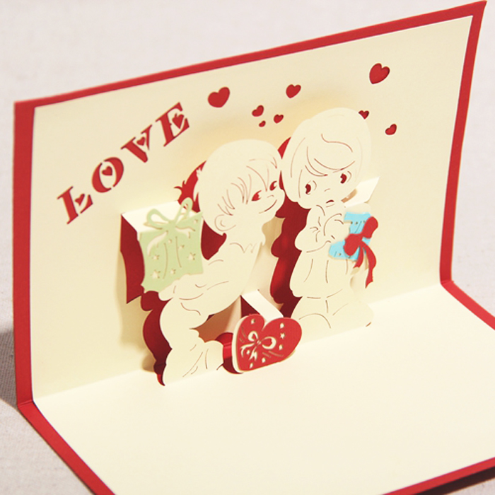2014 new year laser cut invitations novelty cute love kids decoupage 3d pop cards paper art birthday gift envelope - Ivy trade company ltd store
