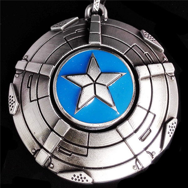 2015 New Arrival Super Hero The Avengers Captain America Shield 3D Silver Metal personality jewelry key chain Free Shipping(China (Mainland))