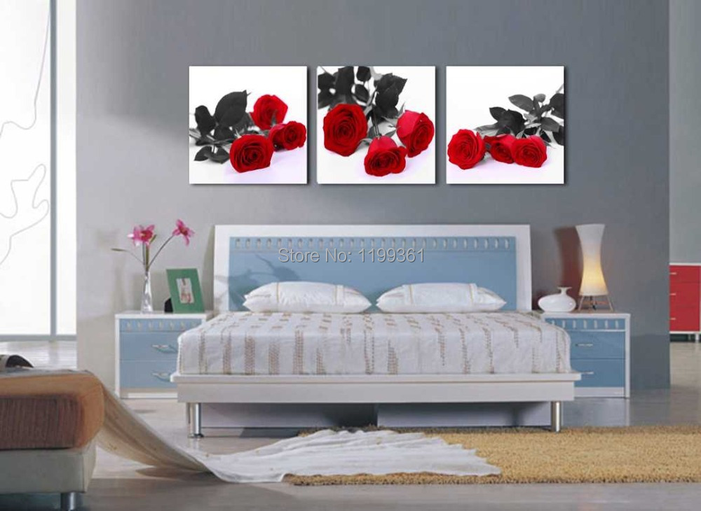 اكتشفوا اجمل الغرف الاجنبية   Modern-Wall-Art-Home-Decoration-Printed-Oil-Painting-Pictures-3-Panel-No-Frame-Romantic-Bedroom-Red