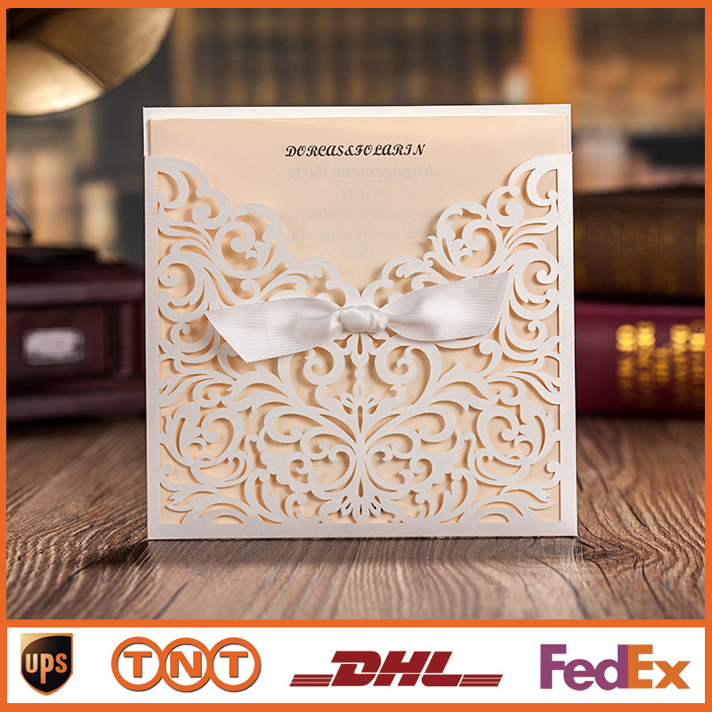 Wedding Invitation Card White Hollow Invitation Cards For Party Supply Free Printing Laser Cut Bow Birthday Invitations HQ1144(China (Mainland))