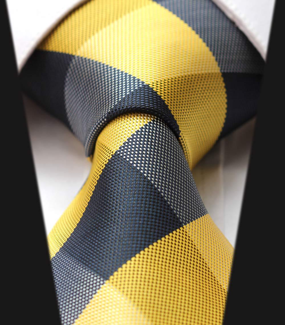 TC4029Y8 White Black Yellow Check New 3.4 inch 100% Silk Jacquard Woven Classic Man's Tie Necktie - HISDERN store