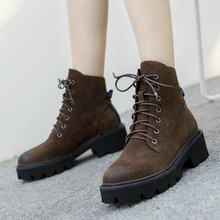 Luxo Couro Genuíno da Plataforma do Salto Grosso Botas De Combate Mulheres Marrom Preto Queda Mulher Sapatos Ankle Boots Senhoras tamanho 41(China)