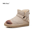High Quality Suede Women Boots 2016 Winter Fashion Buckle Strap Flat Snow Boots for Ladies Brand