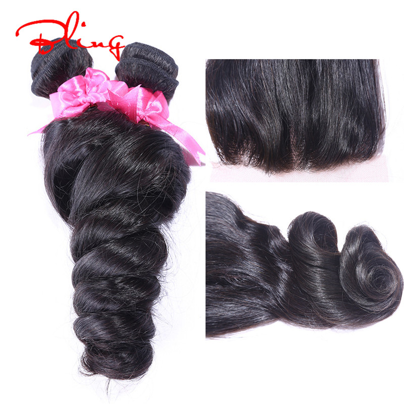 2015 Hot Sale Peruvian Virgin Hair Loose Wave With Closure 8-30inch Hair bundles With Lace Closure 100g Natural Color Human Hair<br>