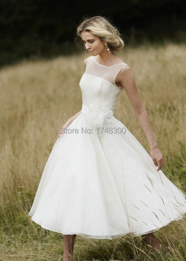 2015 sheer neckline a line tea length wedding dresses for Wedding dresses for outside
