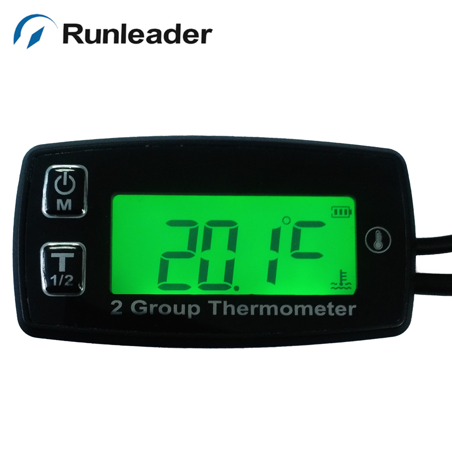Digital LCD 2 temp sensor TEMP meter temperature thermometer motorcycle dirt quad bike truck tractor ATV marine water oil