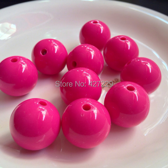 2014 20mm Hot Pink Bubblegum Gumball Beads Acrylic Solid Chunky Necklace Beads, Round Bead 3 - Megan's House store