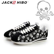 JACKSHIBO 2016 spring summer luxury brand women casual shoes,light originality skull heads print Cortez Hip hop woman flat shoes