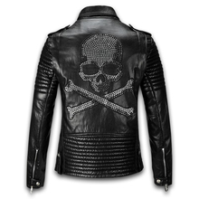 2015 Winter Leather Jacket Men Turn-down Collar Jaqueta De Couro Masculina PU Mens Leather Jackets Skull Punk Veste Cuir Homme(China (Mainland))