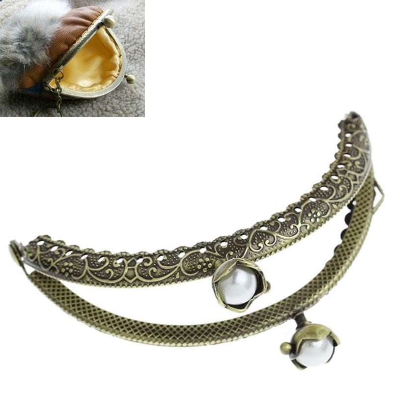 2PCs Attractive New Metal Purse Bag Frame Lotus Kiss Clasp Lock Bronze Tone B32345(China (Mainland))