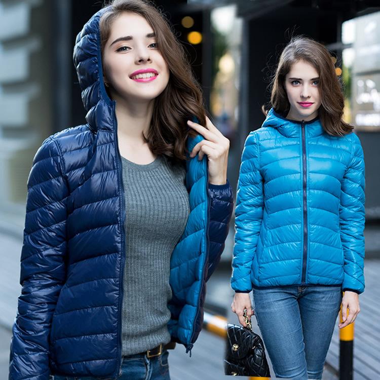 New 2016 Winter Two Side Women 90 White Duck Down Jacket Women s Hooded Ultra Light