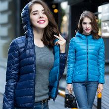 New 2016 Winter Two Side Women 90% White Duck Down Jacket Women's Hooded Ultra Light Down Jackets Warm Winter Coat Parkas W00743