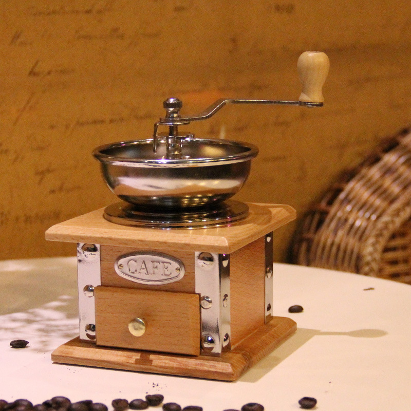 Wood Hand Coffee Bean Grinding Machine For Small Household