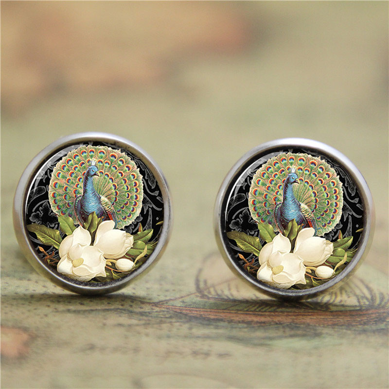10pairs/lot Peacock earring Peacock flaunting its tail earring glass Photo Peacock Art Jewelry earring(China (Mainland))