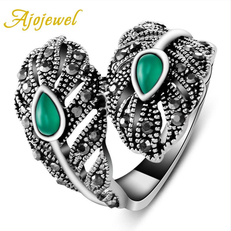 Ajojewel Brand Vintage Ladies Jewelry 18K White Gold Plated Leaf Green Rings For Women (Size 7.8.9 )(China (Mainland))
