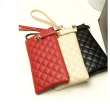 3 Color Handbags Imported High Quality Leather Female Retro Wave Packet Quilted Clutch Bag Plaid Pattern Wallet Bags Wholesale