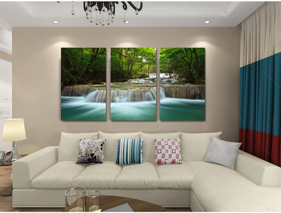 Home decoration art creek waterfall landscape poster for Decoration murale home
