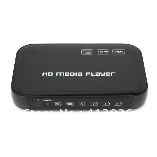 free shipping!!!new Full HD 1080P USB HDD Media Player HDMI VGA MKV H.264 Black 901743-CES-00105