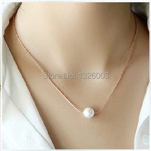 Free Shipping 2014 Wholesale Women Female Jewelry Fashion Style 18K Golden Pearl Pendants Clavicle Snake Chain Chokers Necklace(China (Mainland))