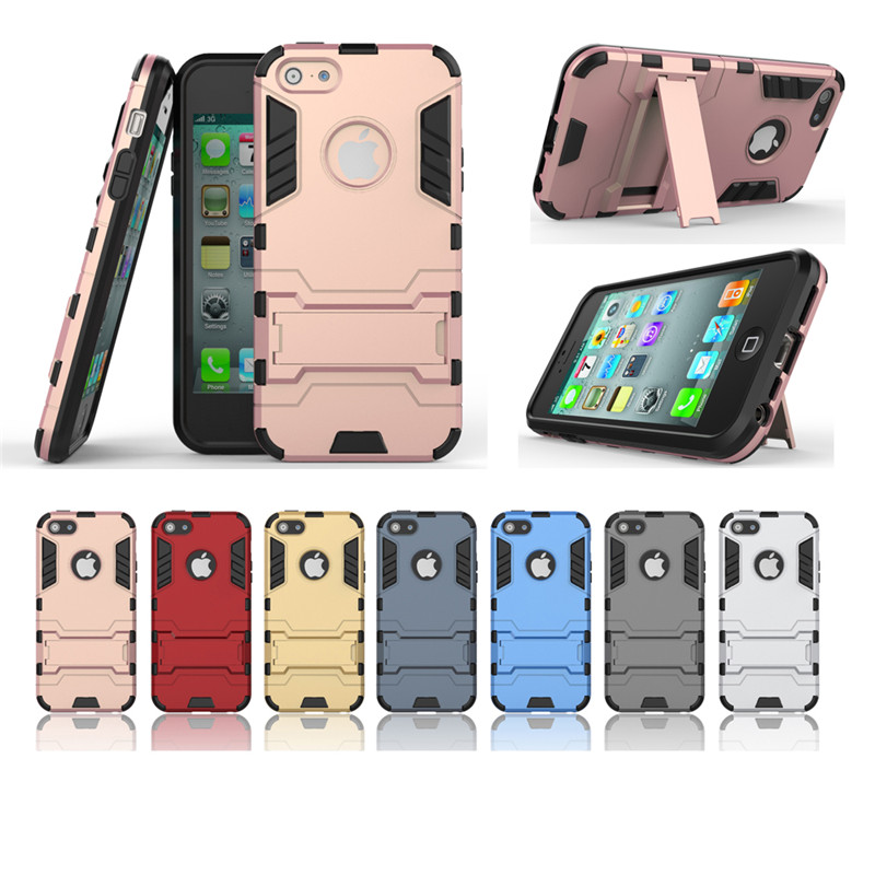 For Apple Iphone 5 5S Case Dual Layer Hybrid Rugged Armor Hard PC+TPU 2 In 1 Shockproof With Kickstand Cover Cases 30pcs