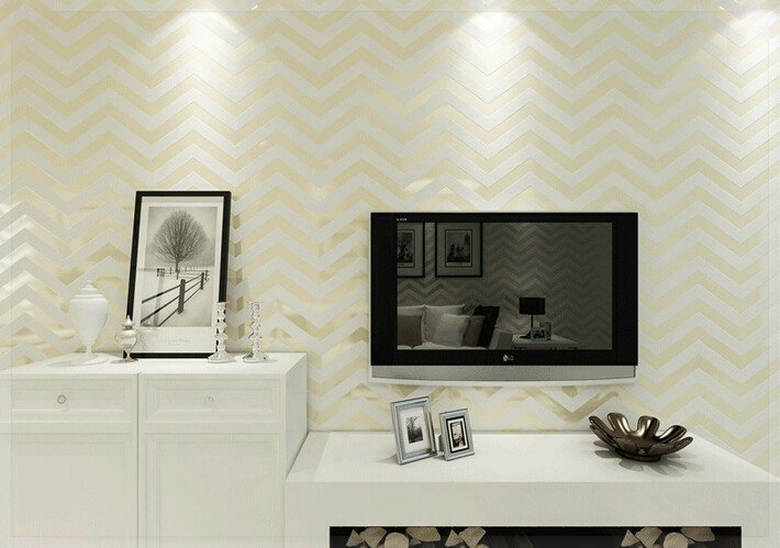 Wave stripes modern wall paper purple beige wallcovering - Beige and purple living room ...