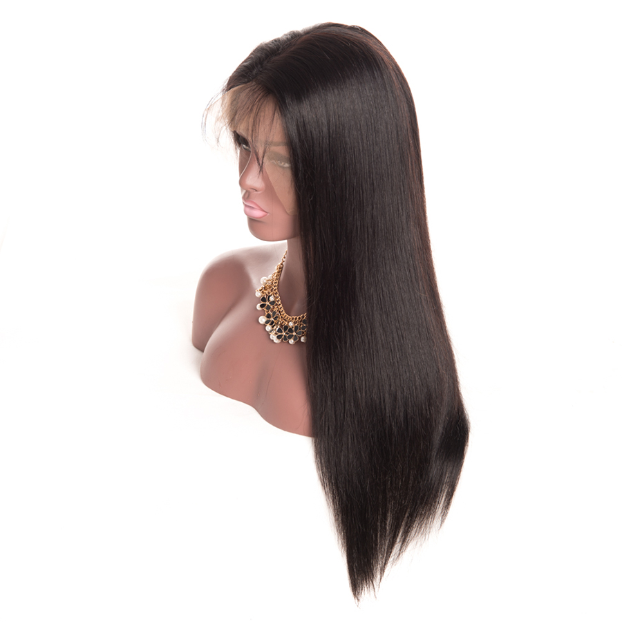 Wonder girl 12″x 6″ Glueless Lace Front Human Hair Wigs 150% Pre Plucked Brazilian Straight Wig With Baby Hair Non Remy