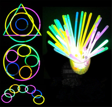 100pcs 7.8inch Multi Color Glow Fluorescence Light Sticks Bracelet Necklaces Light Neon Xmas Party LED Flashing Wand Novelty Toy(China (Mainland))