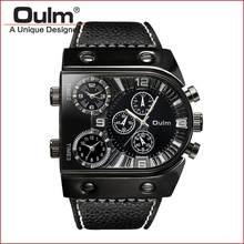 OULM Homens Relógio Do Esporte de Quartzo Analógico Relógio de Fuso Horário Sub-dials 3 Design Big caso Oversize Moda Preto relógio de Pulso relógios relogio(China)