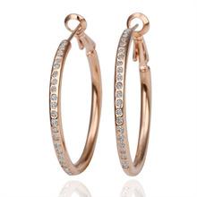 Women blink shining Cubic zirconia 18K yellow Golden circles earings e085 gift box Fashion Jewelry(China (Mainland))