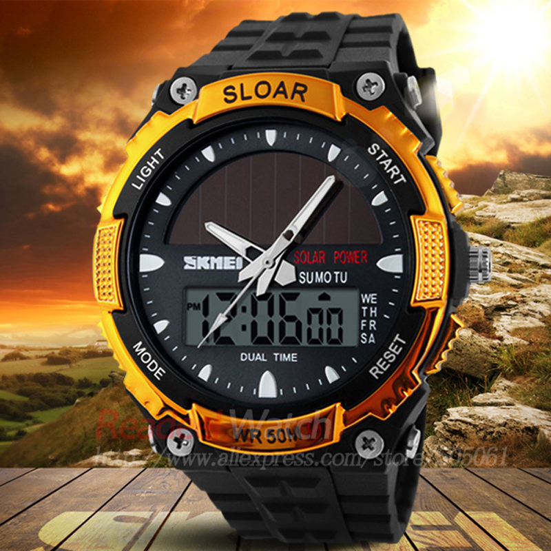 Buy skmei 2016 men sports watches solar power led digital quartz watch 5atm for Solar power watches