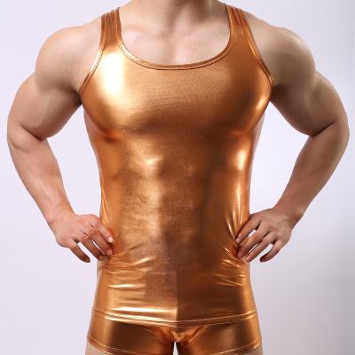 4 pcs/lot 2016 New PU Leather O-neck Men Tank Tops Sexy Sleeveless Shirts Men Imitatiion Faux Leather Vest For Sport Wear 5z(China (Mainland))
