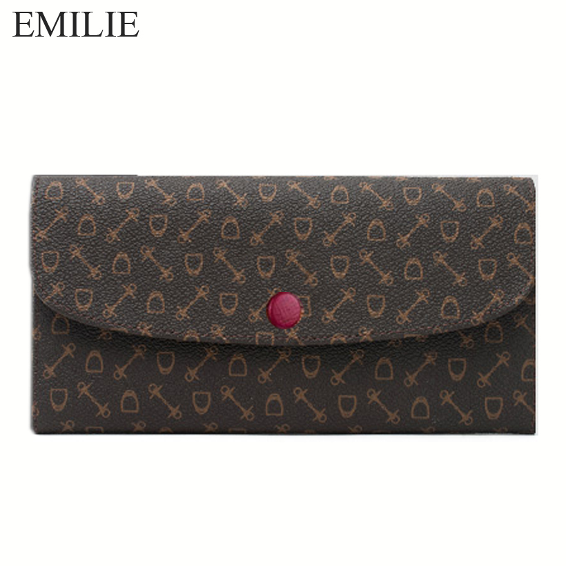 EMILIE famous brand fashion leather wallet can add hot stamping high quality wallet Monogram canvas wallet women Free shipping(China (Mainland))
