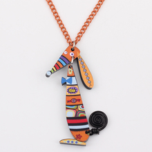 Bonsny Dog Necklace Acrylic Pendant Cute Animal Fashion Jewelry Women 2015 News Girls Accessories Collar Choker