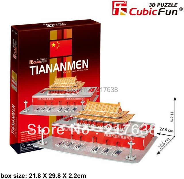 3D puzzle TIANANMEN building model middle size ,  educational DIY toys, free shipping.
