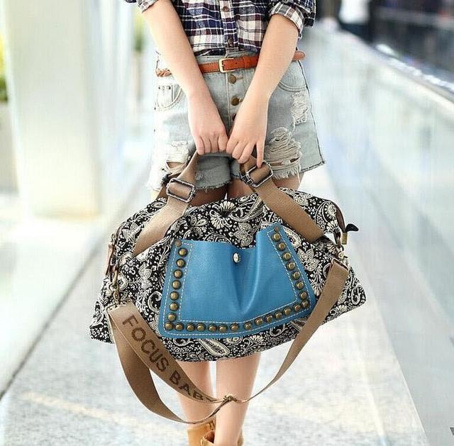 2015 hot fashion Ethnic style shoulder bag popular large rivet handbag messenger bag printing canvas women bag free shipping