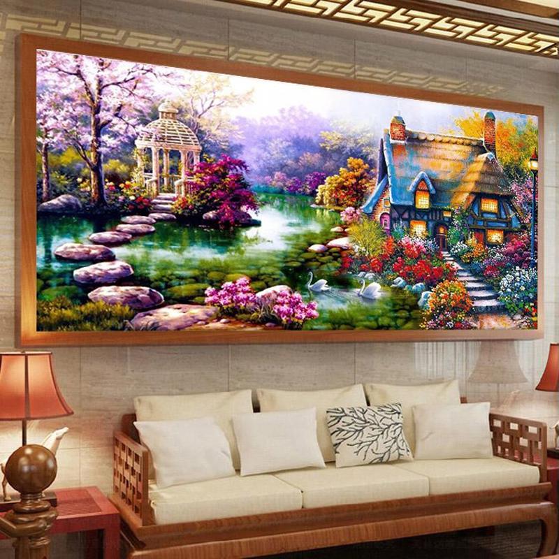 Buy garden house crystal diy 5d diamond for 3d garden decoration
