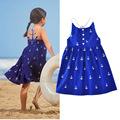 2017 girl dress girl princess clothing dress beach dress full print anchor girl summer beach dress