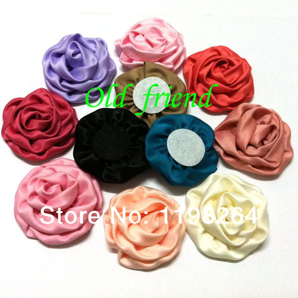 """3"""" Soft Satin Rolled Rosette Fabric rose Flowers For Girl's Hair Accessories Headbands 100pcs/lot 22 color Free Shipping(China (Mainland))"""