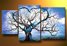 Hand Painted Canvas Oil Painting Home Decor Wall Art Picture Modern Abstract Colorful Tree Landscape Paintings 3 Panels(China (Mainland))