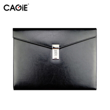 CAGIE Vintage A4 Black Leather Padfolio Men Business Management Contract Password Lock Document Bag Manager File Folder(China (Mainland))